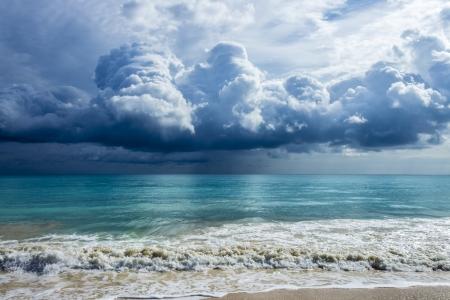 Storm clouds over beautiful Waimanalo Bay in Oahu, Hawaii