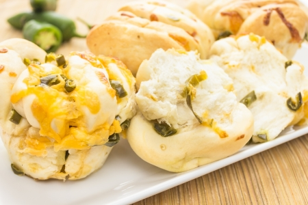 Delicious rolls made with jalapenos and cheddar cheese Stock Photo - 18619631