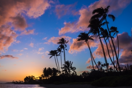 Colorful clouds at sunset from Kawaikui Beach park on Oahu, Hawaii