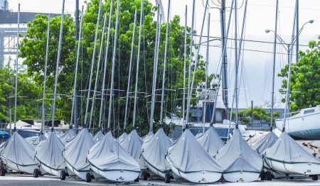 Group of small covered sailboats in the parking lot of a marina