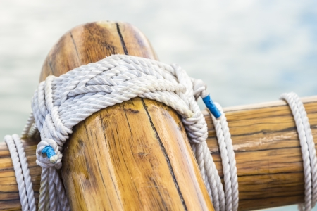 lashing: Detail of lashing on wooden sailing vessel