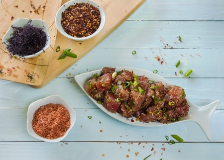 ahi: A common Hawaiian food, ahi limu poke Stock Photo