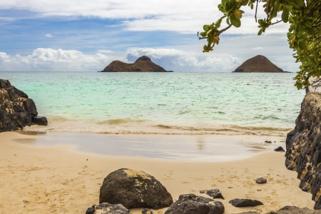 A view of Na Mokulua Islands, also known as The Mokes and Twin Islands, from the beach in Lanikai on Oahu, Hawaii