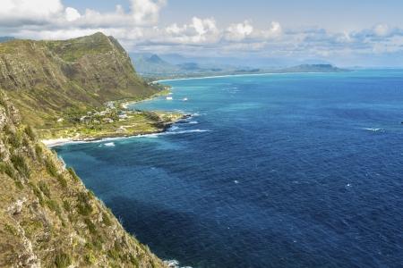 windward: The Windward side of Oahu, Hawaii, with Waimanalo Bay and the Koolau Mountain Range Stock Photo