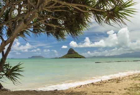 windward: Mokolii, also known as Chinamans Hat, a well-known landmark island off the windward coast of Oahu, Hawaii