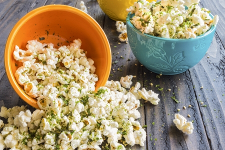popcorn bowls: Popcorn sprinkled with furikake, a japanese seasoning made of sesame seeds, salt, sugar and seaweed, common in Hawaii