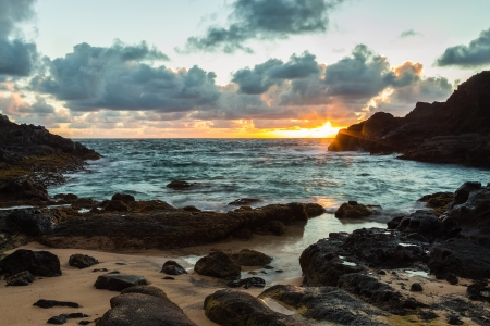 Beautiful peaceful sunrise at Halona Cove, commonly known as Eternity Beach, on Oahu, Hawaii