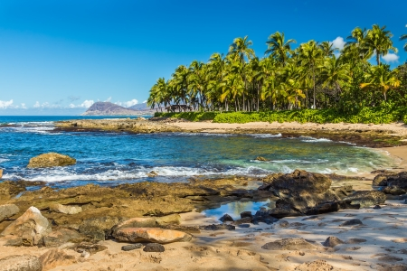 oahu: One of the secret beaches near Ko Olina resort on Leeward Oahu, Hawaii Stock Photo