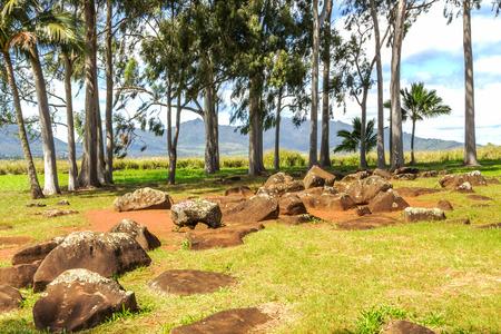 Ancient historical birthstones where royal women gave birth to Hawaiian chiefs, located on Oahu, Hawaii photo