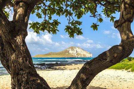 Manana Island, commonly known as Rabbit Island, off the Windward Coast of Oahu, Hawaii Stock Photo