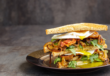 Bacon and egg sandwich with provolone cheese, arugula, spicy caramelized onion on toasted multigrain bread Stock Photo