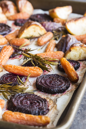 Beets, carrots, potatoes and purple onions roasted with rosemary