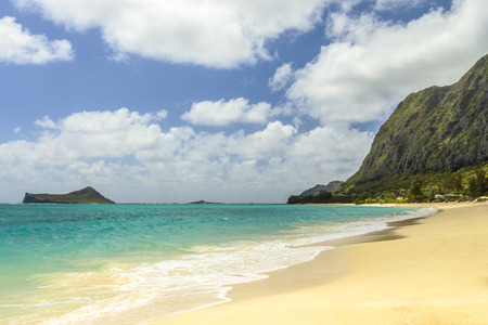 windward: Waimanalo Beach looking south towards Makapuu Point and Manana Island, commonly referred to as Rabbit Island, on Windward Oahu, Hawaii