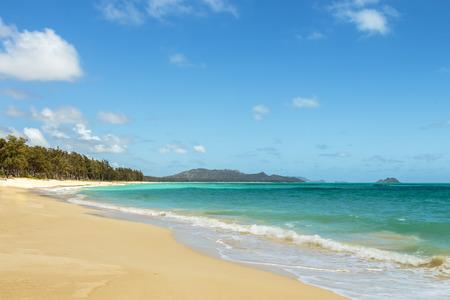 Waimanalo Beach looking north towards Bellows beach and the Koolau mountain range on Windward Oahu, Hawaii