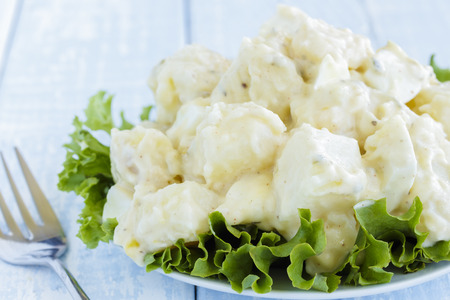 side salad: Potato salad made with passion fruit mustard