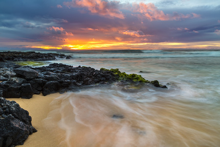hawaii sunset: Sunrise at the shore of Sandy Beach on Oahu, Hawaii