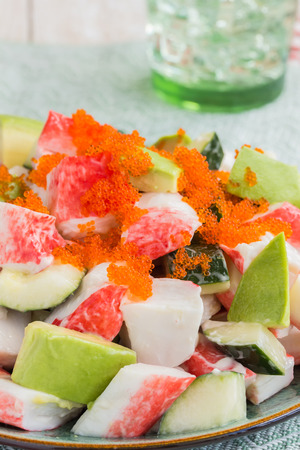 california roll: Deconstructed California roll poke made with imitation crab, cucumber, avocado and capelin roe