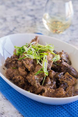 black bean: Spareribs steamed in a black bean sauce and topped with green onions