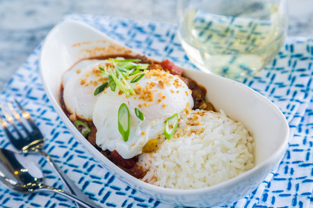 loco: Loco Moco with venison chili, rice and a poached egg