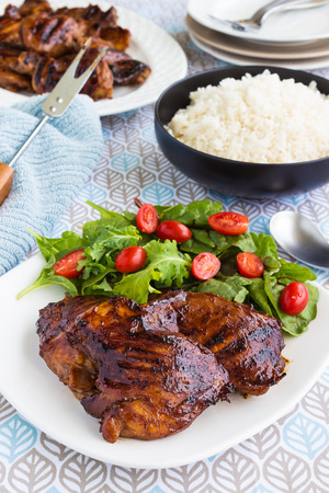 boneless: Grilled boneless chicken thighs marinated and basted in a mixture of guava jam shoyu oyster sauce and seasonings Stock Photo