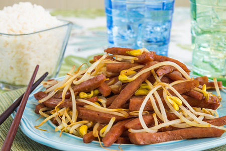 stir fry: Hawaiian stir fry made with spam and bean sprouts Stock Photo