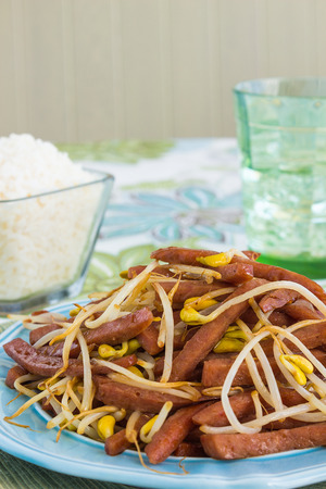 Hawaiian stir fry made with spam and bean sprouts photo