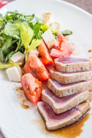 watercress: Seared Ahi with watercress and tomato salad