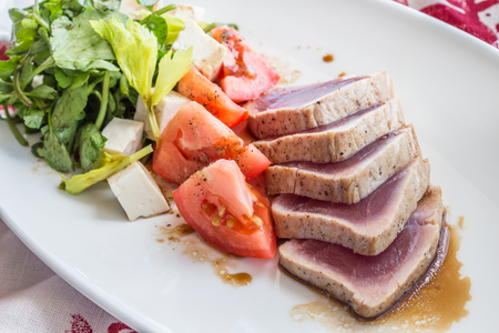 ahi: Seared Ahi with watercress and tomato salad