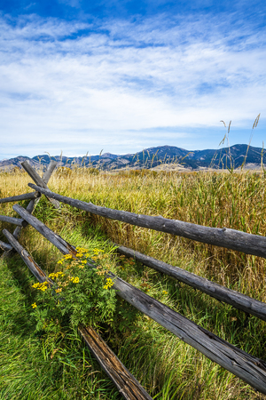 bridger: A rustic wooden fence at the edge of Cherry Creek Nature Preserve on the outskirts of Bozeman, Montana