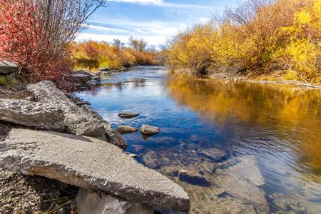 preserve: Cherry Creek running through the beautiful autumn landscape of Cherry Creek Nature Preserve on the outskirts of Bozeman, Montana
