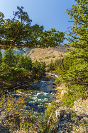 natural bridge state park: The Boulder river flowing through Natural Bridge State Park in McLeod, Montana Stock Photo
