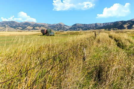bridger: An old truck in a field at the foot of the Bridger mountain range in Belgrade, Montana