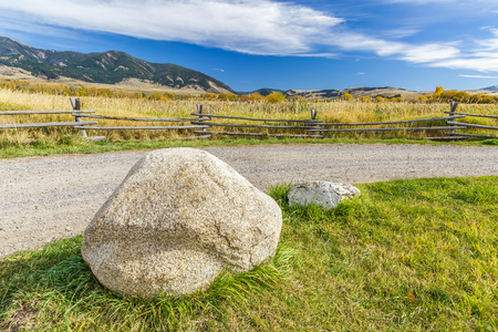 bridger: Boulders at the entrance to Cherry Creek Nature Preserve on the outskirts of Bozeman, Montana