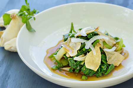 bok choy: Salad of wilted watercress, bok choy, alii mushrooms and onion in a ginger shoyu sauce
