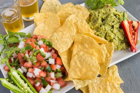 gallo: Platter of guacamole, pico de gallo and tortilla chips