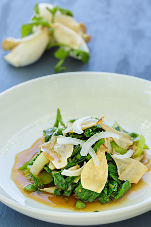 watercress: Salad of wilted watercress, bok choy, alii mushrooms and onion in a ginger shoyu sauce