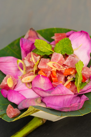 Thai ahi tuna salad served in a beautiful lotus flower