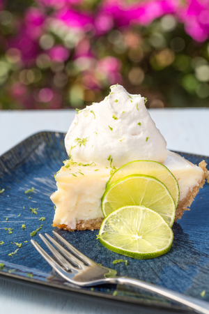 A slice of key lime pie served with whipped cream and lime zest Stok Fotoğraf