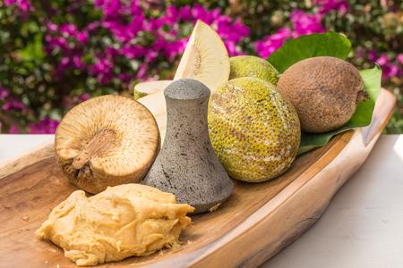 Traditional Hawaiian fare of Ulu pounded into paiai Stock Photo