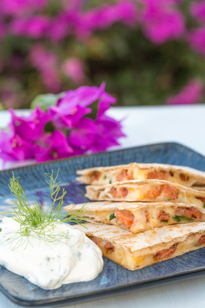 Quesadilla with spam, jalapenos and cheese with dill yogurt sauce
