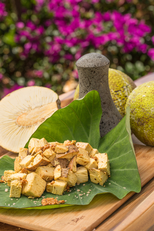 Prepared Ulu ready to be pounded into paiai by traditional Hawaiian methods Stock Photo
