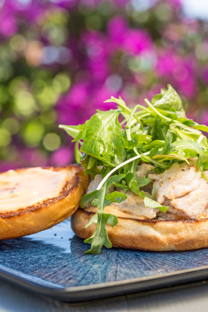 Grilled ahi tuna steak topped with arugula served on a bun Imagens