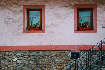 windows in the facade in the stree