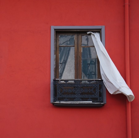 window in the red house. bilbao spain