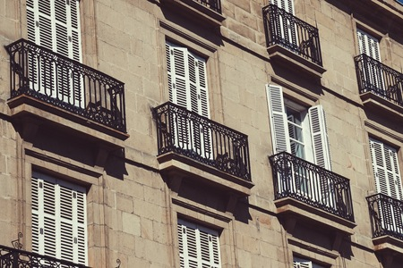 window and balcony on the facade building in Bilbao city, Spain.