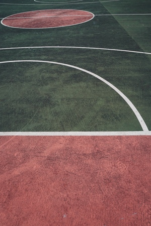 Colorful lines on the ground in the basketball court. Bilbao. Spain.