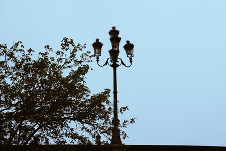 street light in the street in Bilbao city. Spain. Stock Photo