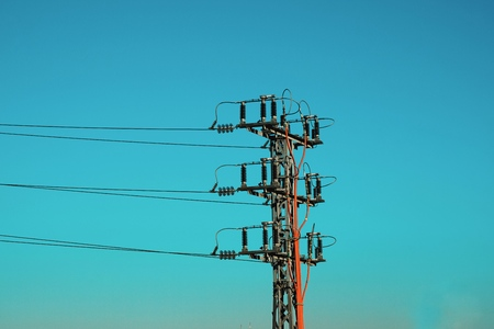 electricity tower power line and blue sky