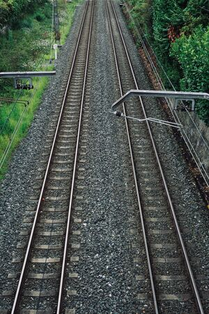 railroad track in the station in the street