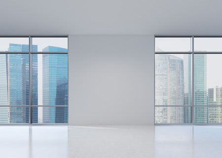 office view: view of skyscraper from wide window, 3D rendering